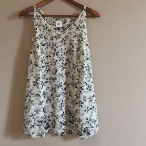 Cabi Black and White Floral Terrace Tank Size S